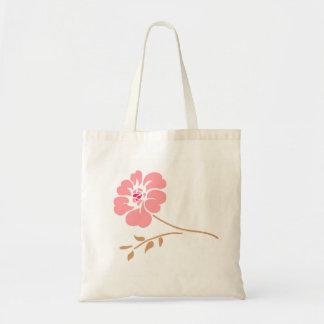 Pink Floral Design Tote Bags