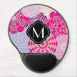 Pink Floral Design Modern Abstract Flowers Gel Mouse Pad