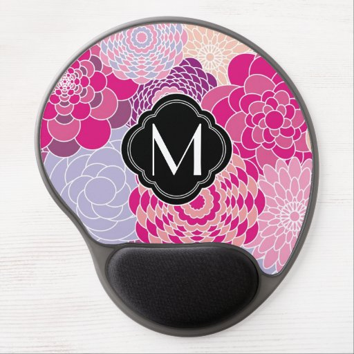 Pink Floral Design Modern Abstract Flowers Gel Mouse Mat