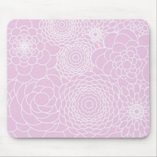 Pink Floral Design Modern Abstract Flowers Mouse Pad