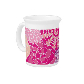 Pink Floral Design Modern Abstract Flowers Beverage Pitcher