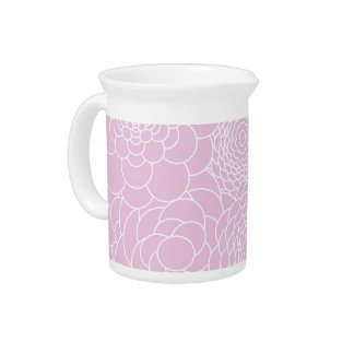 Pink Floral Design Modern Abstract Flowers Drink Pitcher