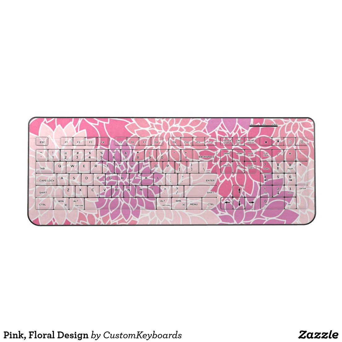 Pink, Floral Design Wireless Keyboard