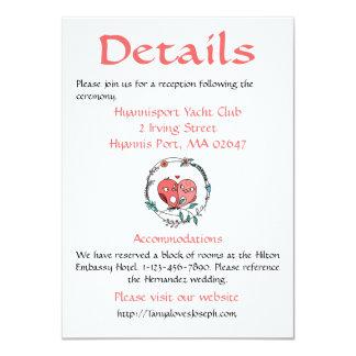 Pink Floral Details / Directions Lovebirds Flower Card