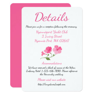 Pink Floral Details / Directions Watercolor Flower Card