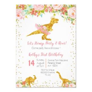 Pink Floral Dino Trex Birthday Invitation