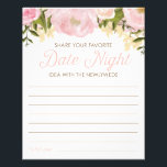 "Pink Floral Double Sided Bridal Shower Date Night Flyer<br><div class=""desc"">Get the party started with this fun DOUBLE sided Bridal Shower activity! One side is Share Your Favorite Date Night Idea - and the other is Share Some Advice! Double the fun for the price of one! Matching Menu: https://www.zazzle.com/wedding_menu_bridal_shower_menu_pink_floral-245039215506897611 Matching Favor Stickers: https://www.zazzle.com/pink_floral_sticker-217268181705341556 Matching Cups: https://www.zazzle.com/pink_floral_cups-256038535211847264 Matching Napkins: https://www.zazzle.com/pink_floral_napkins-256076261234916909 Visit...</div>"