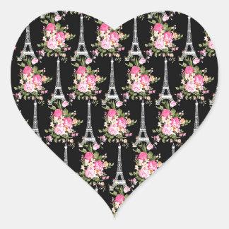 Pink Floral Eiffel Tower on Black Heart Sticker