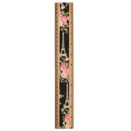 Pink Floral Eiffel Tower on Black Ruler