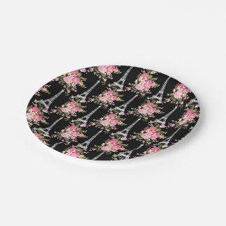 Pink Floral Eiffel Tower on Black 7 Inch Paper Plate