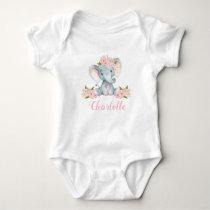Pink Floral Elephant 1st Birthday Baby Bodysuit
