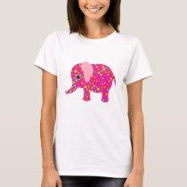 Pink Floral Elephant Apparel T-Shirt
