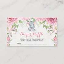 Pink Floral Elephant Baby Diaper Raffle Ticket Enclosure Card