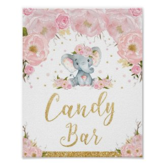 Pink Floral Elephant Baby Shower Candy Bar Sign