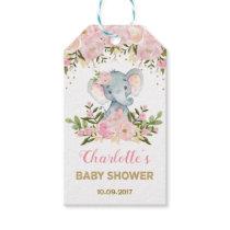 Pink Floral Elephant Baby Shower Favor Gift Tag