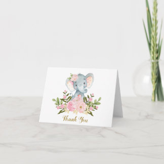 Pink Floral Elephant Baby Shower Thank You Note