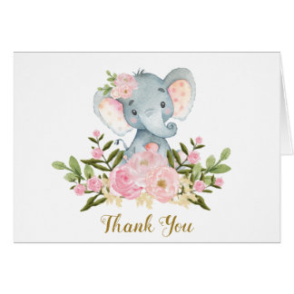 Pink Floral Elephant Baby Shower Thank You Note Card