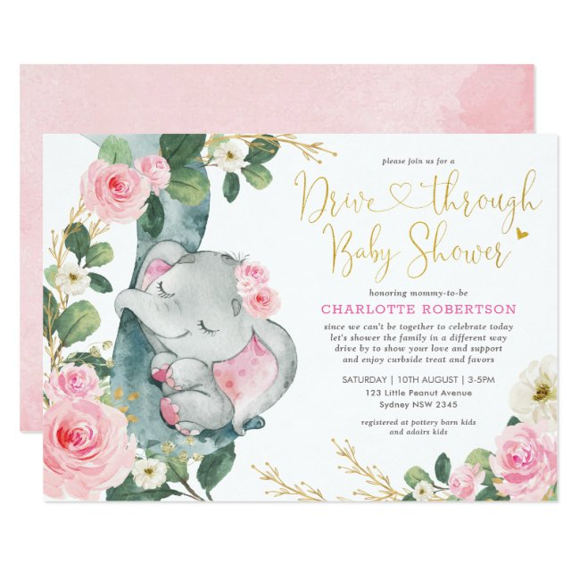 Pink Floral Elephant Drive By Girl Baby Shower Invitation