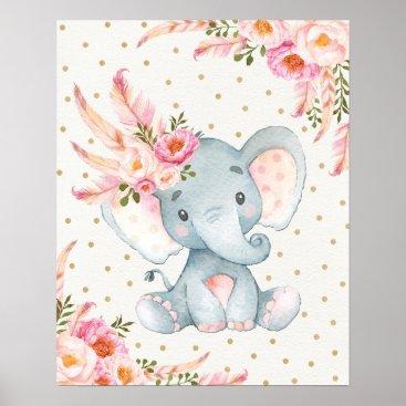 BlueBunnyStudio Pink Floral Elephant Nursery Art Boho Floral Decor