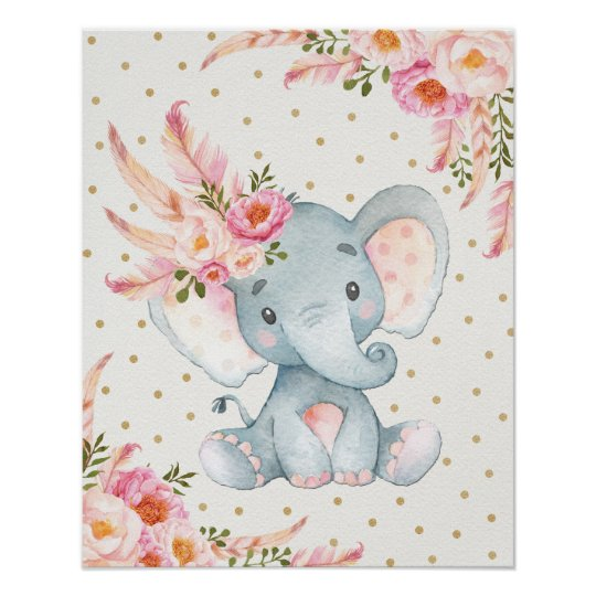 Pink Fl Elephant Nursery Art Boho Decor
