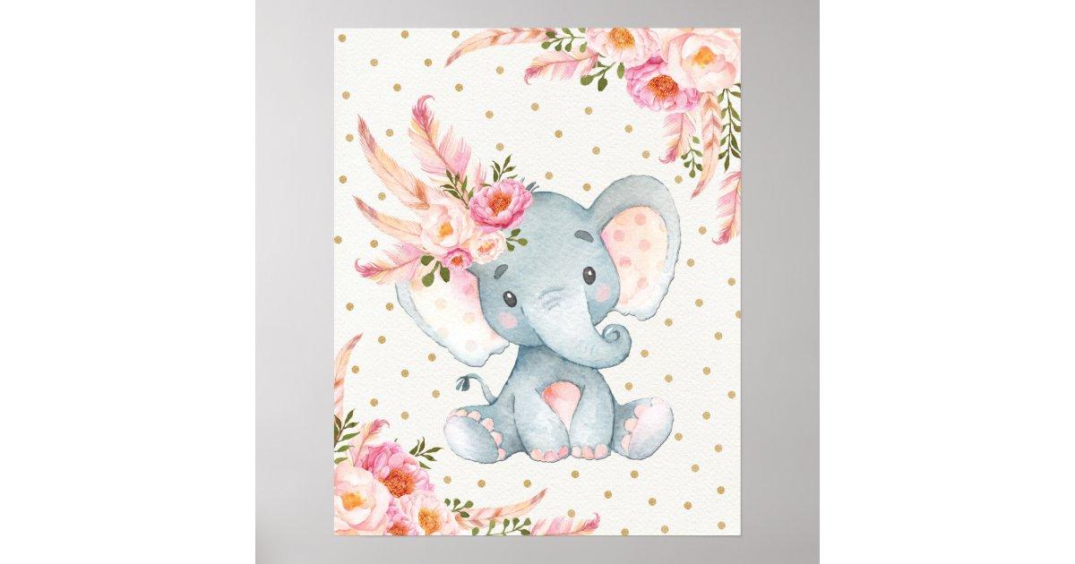 Golf Cart Pink >> Pink Floral Elephant Nursery Art Boho Floral Decor | Zazzle.com