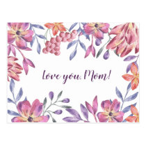 Pink floral exotic tropic flowers Mother's day Postcard