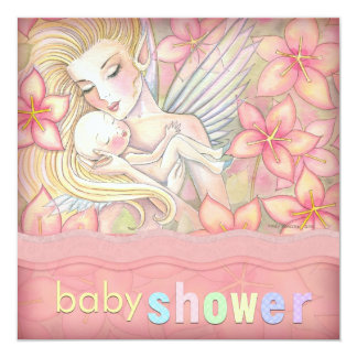 Pink Floral Fairy Mother and Infant Baby Shower Invitation
