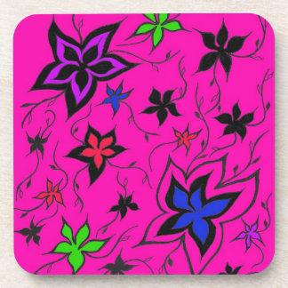 Pink floral fantasy beverage coaster