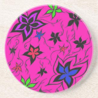 Pink floral fantasy drink coaster