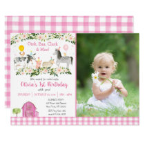 Pink Floral Farm Animal 1st Birthday Invitation