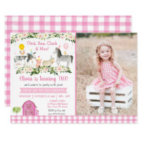 Pink Floral Farm Animal 2nd Birthday Invitation