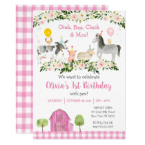 Pink Floral Farm Animal Birthday Invitation