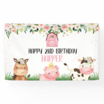 Pink Floral Farm Birthday Party Banner