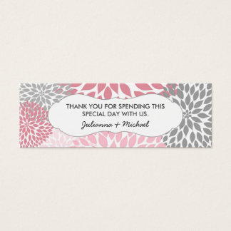 Pink floral favor tag, girl baby shower thank you mini business card