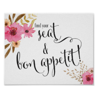 Pink Floral Find Your Seat & Bon Appetit Wedding Poster
