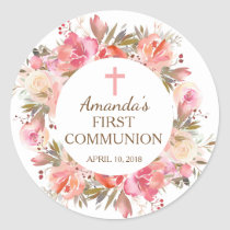 Pink Floral First Holy Communion Sticker