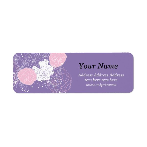 pink floral flower, boutique Return Address Labels