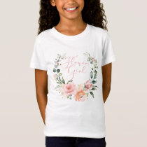 Pink Floral Flower Girl Script Watercolor Wreath T-Shirt