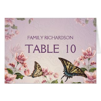 ! Pink Floral Flowers Butterflies Table Numbers Greeting Cards