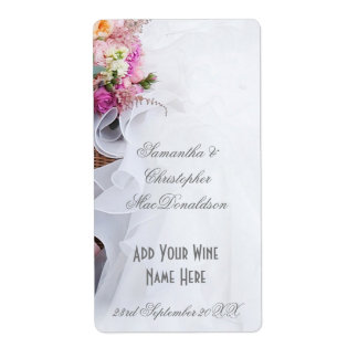 Pink floral flowers wedding dress wine bottle label