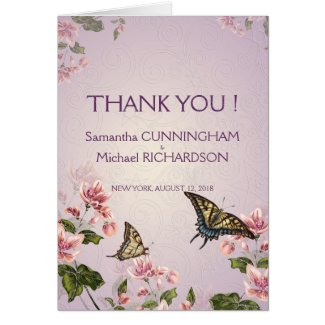 Pink Floral Flowers Wedding Thank You Card