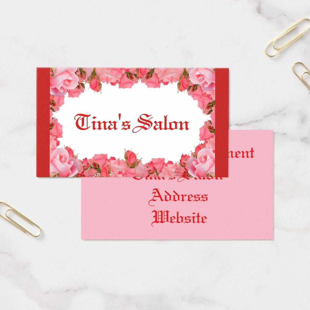 Pink Floral Frame Business Card