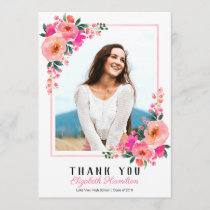 Pink Floral Frame Graduation Photo Thank You