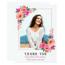 Pink Floral Frame Graduation Photo Thank You Card