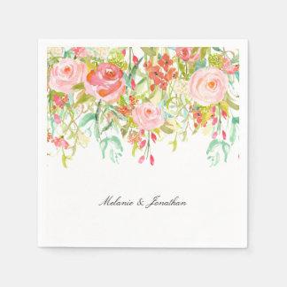 Pink Floral Garden Watercolor Napkin
