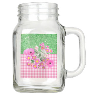 Pink Floral & Gingham Apple Geen Faux Glitter Mason Jar