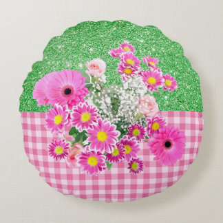 Pink Floral & Gingham Apple Green Faux Glitter Round Pillow