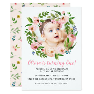 Pink Floral Girl 1st Birthday Invitations | Photo