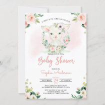 Pink Floral Girl A Little Lamb Baby Shower Invitation