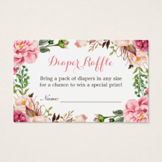 Pink Floral Girl Baby Shower Diaper Raffle Ticket